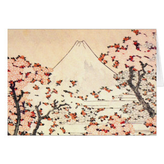 Hokusai Mount Fuji Cherry Blossoms Greeting Card