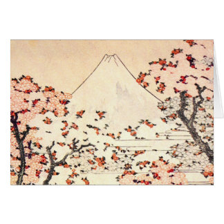 Hokusai Mount Fuji Cherry Blossoms Note Card