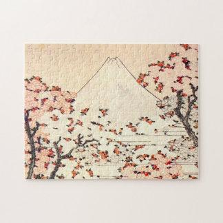 Hokusai Mount Fuji Cherry Blossoms Puzzle