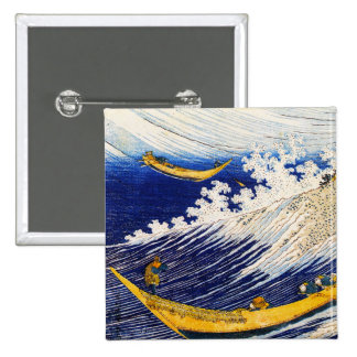 Hokusai Ocean Waves Button