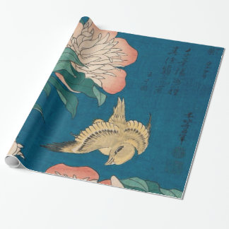 Hokusai Peonies and Canary Vintage GalleryHD Wrapping Paper