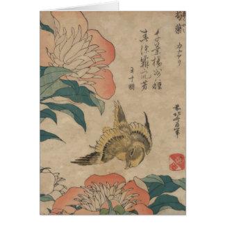 Hokusai Peony and Canary Card