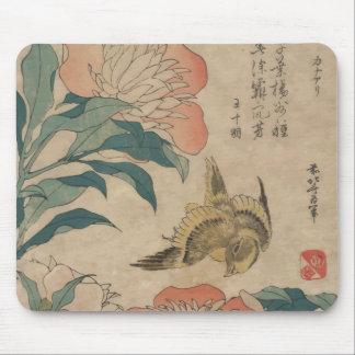 Hokusai Peony and Canary Mouse Pad