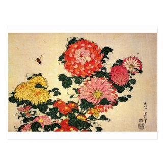 Hokusai s Chrysanthemum and Bee Post Card