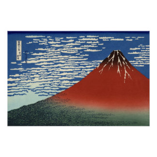 Hokusai s Red Fuji Poster