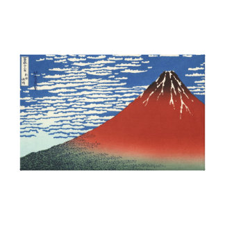 Hokusai South Wind Clear Sky Red Fuji Canvas