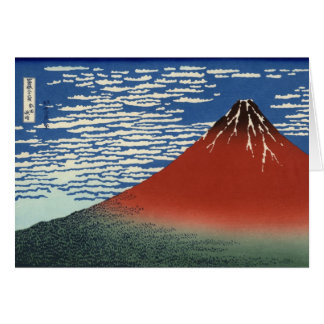 Hokusai South Wind Clear Sky Red Fuji Note Card