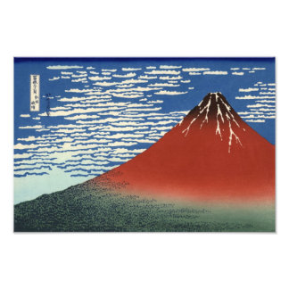Hokusai South Wind Clear Sky Red Fuji Print