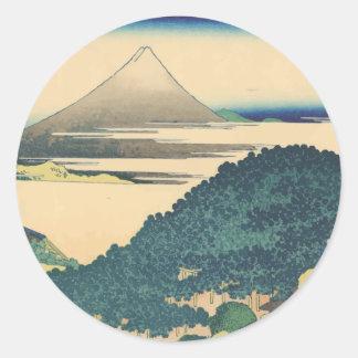 Hokusai: The Circular Pine Trees of Aoyama Round Sticker