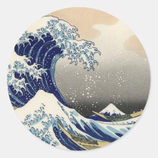 Hokusai: The great wave of Kanagawa Round Sticker
