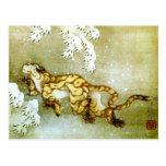 Hokusai Tiger in Snow Japanese Fine Art Postcard
