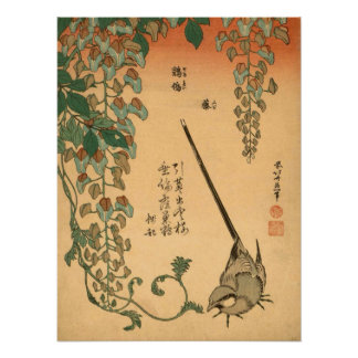 Hokusai Vintage Wisteria and Wagtail GalleryHD Poster