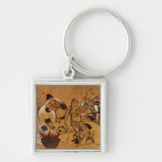 Hokusai's '7 Gods of Fortune' Keychain Silver-Colored Square Keychain