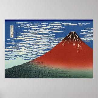 Hokusai's Red Fuji Poster