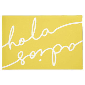 Hola Adios Spanish Typography - Pick Your Colour Doormat