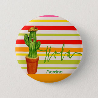 Hola hello a smiling mexican style cactus stripes 6 cm round badge