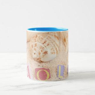 Hola, hello in Spanish on a sandy beach Two-Tone Mug