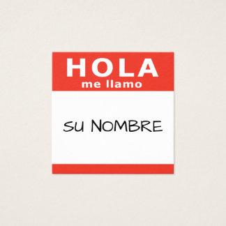 hola su nombre rojo square square business card