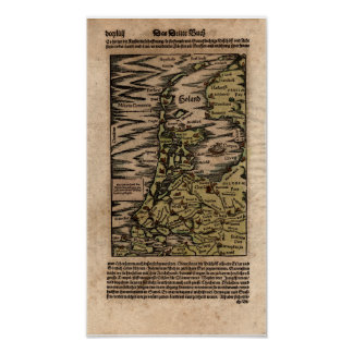 """Holand"" - 1598 Hand Colored Woodblock Holland Map Poster"
