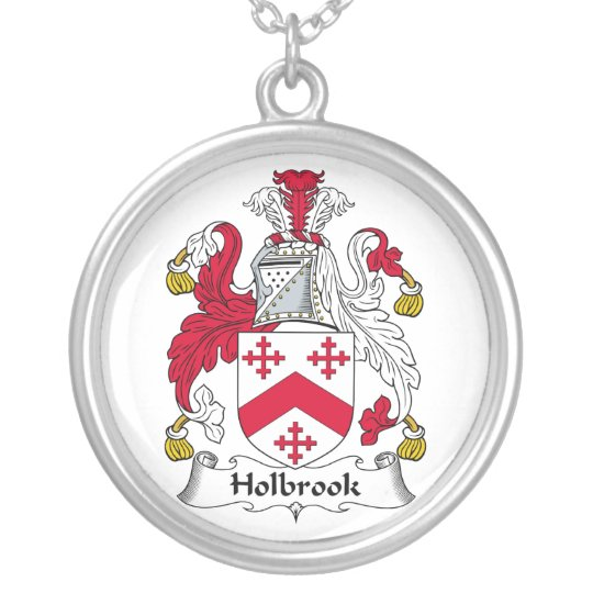 Holbrook Family Crest Silver Plated Necklace