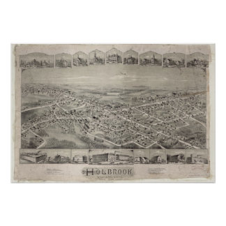 Holbrook Massachusetts 1892 Antique Panoramic Map Poster