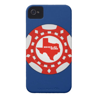 Hold 'Em Poker Chip Blackberry Case (red on blue) iPhone 4 Cover