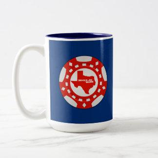 Hold 'Em Poker Chip Mug (red - blue background)