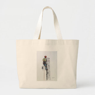 Hold on tight tree surgeon large tote bag