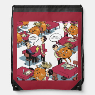 Hold The Onion Funny Drawstring Backpack