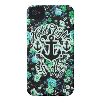 Hold Tight, Stay Strong Floral Nautical art. iPhone 4 Case-Mate Case