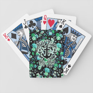 Hold Tight Stay strong rockabilly nautical floral Poker Deck