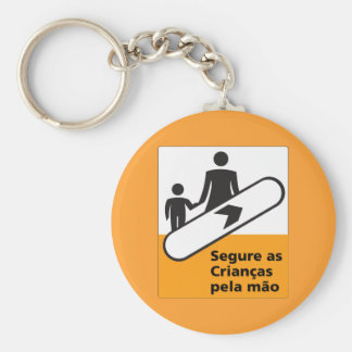 Hold Your Children Sign, Brazil Basic Round Button Key Ring