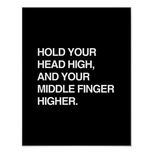 HOLD YOUR HEAD HIGH AND YOUR MIDDLE FINGER HIGHER. PRINT