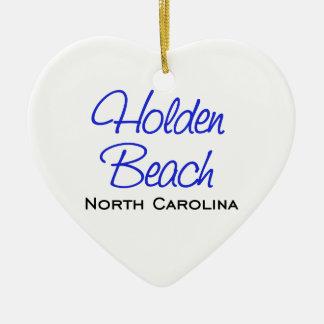 Holden Beach, NC Ceramic Heart Decoration