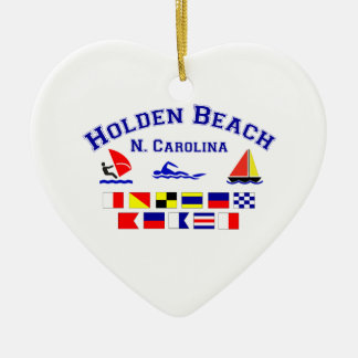 Holden Beach Nc Signal Flags Ceramic Heart Decoration