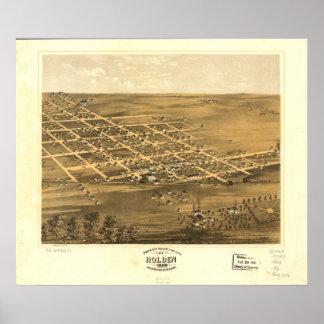 Holden Missouri 1869 Antique Panoramic Map Poster