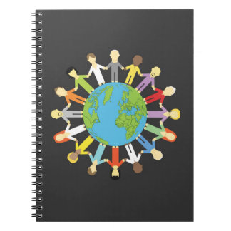 Holding Hands Around Earth Spiral Notebook