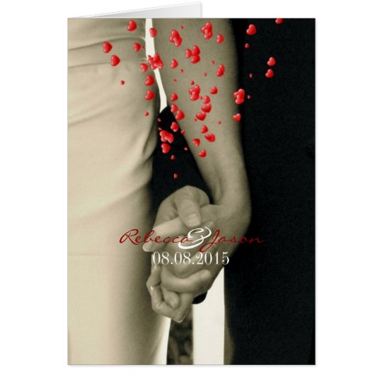 holding hands Balack and white wedding Card