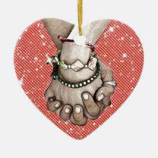 Holding Hands Ceramic Heart Decoration