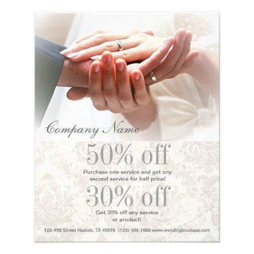 holding hands damask wedding planner business full color flyer
