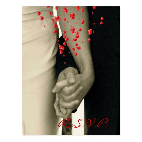 holding hands modern wedding response RSVP Postcard