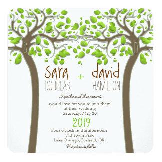 Holding Hands Trees Love Rustic Eco Wedding 13 Cm X 13 Cm Square Invitation Card