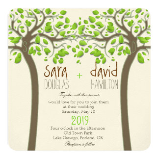 Holding Hands Trees Love Rustic Eco Wedding 13 Cm X 13 Cm Square Invitation Card