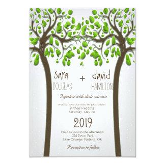 Holding Hands Trees Love Rustic Eco Wedding 13 Cm X 18 Cm Invitation Card