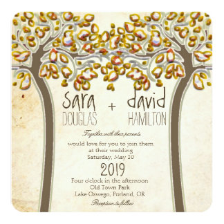 Holding Hands Trees Love Rustic Fall Wedding 13 Cm X 13 Cm Square Invitation Card