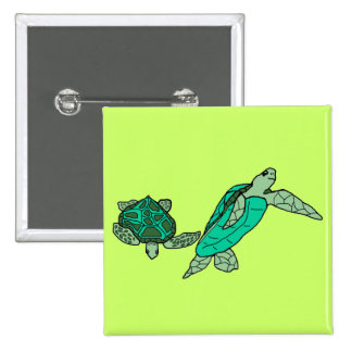 Holding on sea turtles button