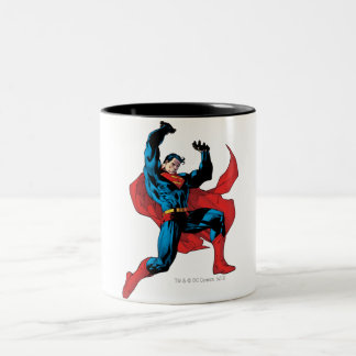 Holding up a heavy object Two-Tone coffee mug