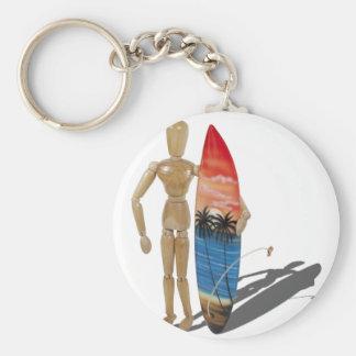 HoldingSurfBoard050111 Basic Round Button Key Ring