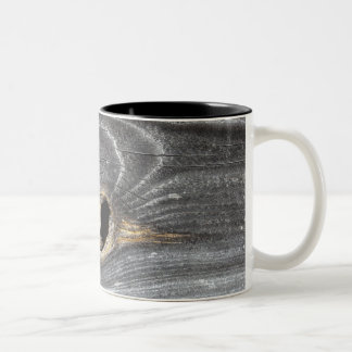 hole in fence Two-Tone coffee mug