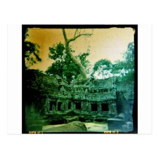 holga photo of  ta prohm in cambodia postcard